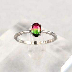 Sterling 0.5ct Watermelon Tourmaline Ring